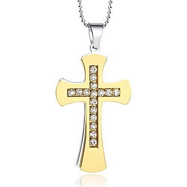 Femme Pendentif de collier Pendentif Forme de Croix Acier au titane Imitation Diamant Croix Mode Bijoux de Luxe Personnalisé Bijoux Pour