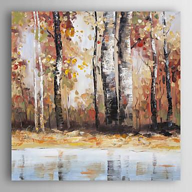 יד מופשט נוף ציור שמן בשלל צבעים שנפלו עלים עם arts® קיר מסגרת 7 נמתח