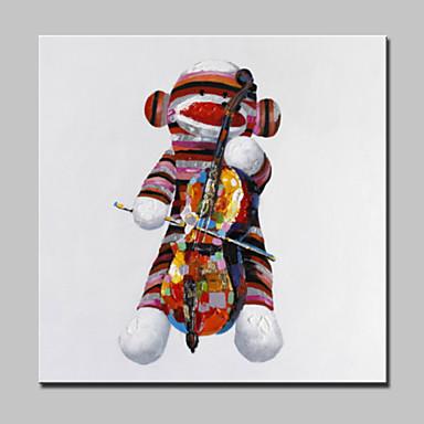 Hang festett olajfestmény Kézzel festett - Absztrakt Állatok Fantasy Modern Vászon