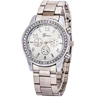 בגדי ריקוד נשים שעוני אופנה קווארץ חיקוי יהלום שעונים יום יומיים מתכת אל חלד להקה קסם כסף זהב