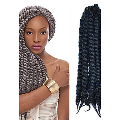 12-24 Zoll Häkelarbeit Flechten Havanna Mambo Afro Twist Haarverlängerung schwarz grau