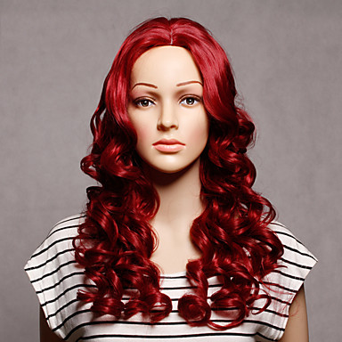 Synthetische Haare Perücken Wellen Kappenlos Lang Rot