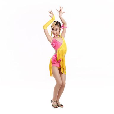 ריקוד לטיני שמלות בגדי ריקוד ילדים ביצועים ספנדקס פוליאסטר 7 חלקים בלי שרוולים גבוה שמלה כפפות Neckwear צמיד אביזרים לשיער