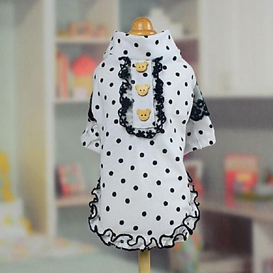 Hund T-shirt Kleider Hundekleidung Modisch Tupfen Weiß Kostüm Für Haustiere