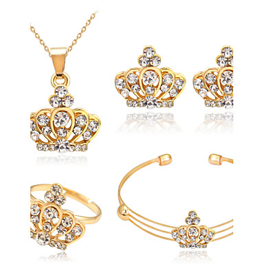נשים חמוד מסיבה Party יומי אבן נוצצת משובץ זהב ורוד סגסוגת Crown Shape טבעות עגילים שרשראות צמיד
