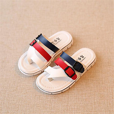 כפכפים-נעלי תינוק-שטח-דמוי עור-אדום / לבן