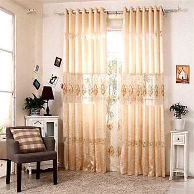 zwei Panele Window Treatment Europäisch , Patchwork Wohnzimmer Polyester Stoff Vorhänge drapiert Haus Dekoration For Fenster