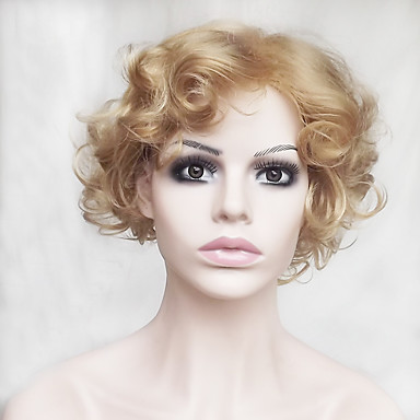 人工毛ウィッグ ウェーブ ブロンド ボブスタイル・ヘアカット / バング付き 合成 ナチュラルヘアライン ブロンド かつら 女性用 ショート キャップレス