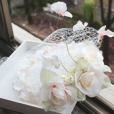 red de tela fascinators headpiece wedding party estilo femenino elegante