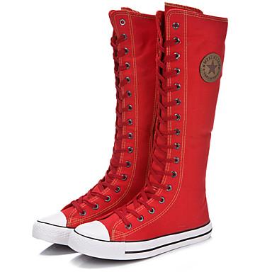 בגדי ריקוד נשים נעליים קנבס סתיו / חורף שטוח 30.48-35.56 cm / מגפיים עד הברך רוכסן / שרוכים לבן / שחור / אדום