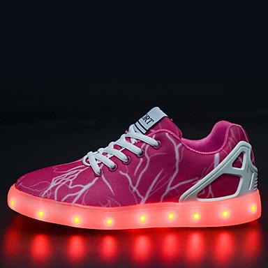 Damen Mädchen Schuhe Tüll Frühling Sommer Herbst Winter Komfort Leuchtende LED-Schuhe Flacher Absatz Rüschen Kombination Für Sportlich