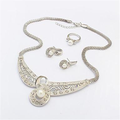 Schmuck Halsketten Ohrringe Ringe Modisch Party Alltag Normal 1 Set Damen Silber Weiß Hochzeitsgeschenke