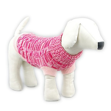 Cat Dog Sweater Dog Clothes Casual/Daily Keep Warm Solid Blue Pink Costume For Pets