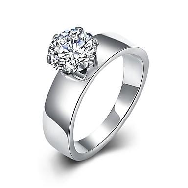 Dame Band Ring / Statement Ring / Ring - Zirkonium, Kubisk Zirkonium, Strass dusk, Bohemsk, Mote 6 / 7 / 8 Hvit Til Bryllup / Fest / Daglig / Sølvplett / Sølvplett / Diamant