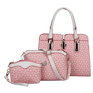 Mulher Bolsas Todas as Estações Couro Ecológico Conjuntos de saco 3 Pcs Purse Set para Compras Casual Formal Bege Azul Rosa claro