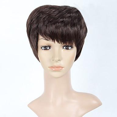 Syntetisk hår Parykker Bølget Lokkløs Kort Brun