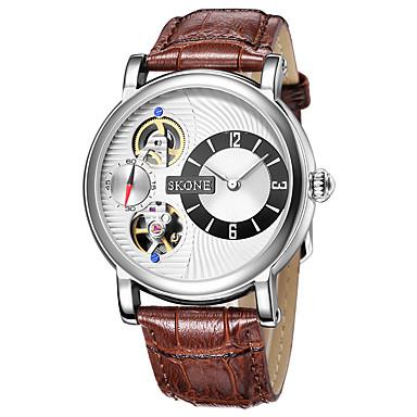 Herren Mechanische Uhr Armbanduhr Automatikaufzug Wasserdicht Armbanduhren für den Alltag Leder Band Schwarz BraunKaffee Schwarz/Weiß