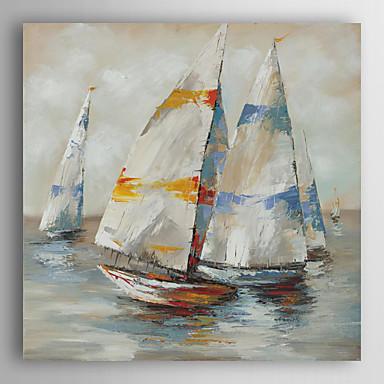 håndmalt oljemaleri landskapet regatta med strukket ramme 7 veggen arts®