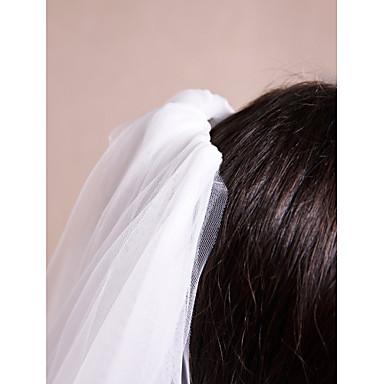 Véus de Noiva Uma Camada Véu Ombro Véu Catedral Corte da borda Borda com aplicação de Renda Tule Renda Marfim