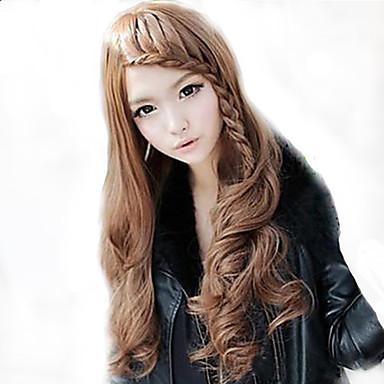 Damskie Peruki syntetyczne Długo Luźne fale Falowana Naturalne fale Light Brown Costume Wig Peruka kostiumowa
