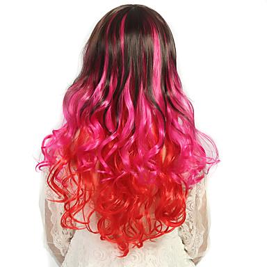 24-Zoll-Frauen lange tiefe Welle lockigen Kunsthaar Perücke stieg ombre rot mit freiem Haarnetz