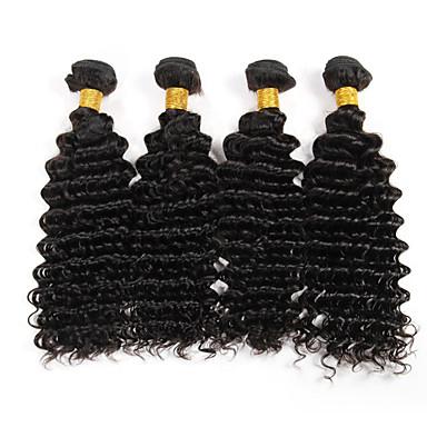 baratos Extensões de Cabelo Natural-4 pacotes Cabelo Brasileiro Encaracolado Onda Profunda Weave Curly 8A Cabelo Humano Cabelo Humano Ondulado Tramas de cabelo humano Extensões de cabelo humano