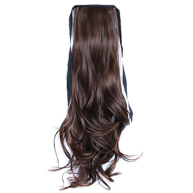 peruca marrom 50 centímetros de alta temperatura fio estilo cinta cabelo longo rabo de cavalo cor 4a / 30b