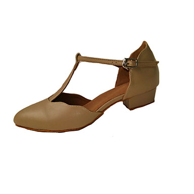 baratos Shall We® Sapatos de Dança-Mulheres Sapatos de Dança Couro Ecológico Sapatos de Dança Moderna Presilha Salto Salto Baixo Não Personalizável Amêndoa / Preto / Caqui / Interior / Espetáculo / Ensaio / Prática / EU40