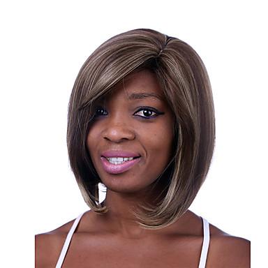 deckellosen Mischfarbe mittlerer Länge hochwertige natürliche glatte Haare synthetische Perücken