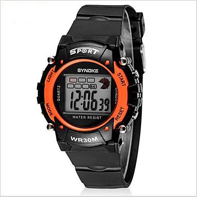SYNOKE Kinder Armbanduhr Sportuhr digital Alarm Kalender Chronograph Wasserdicht LCD leuchtend Caucho Band Cool Schwarz