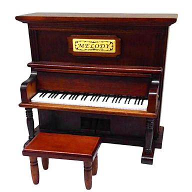 madeira criativo caixa de música romântica marrom para o presente