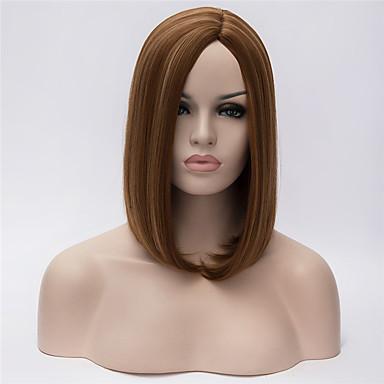 Syntetiske parykker Lige / Kinky Glat Bob frisure / Assymetrisk frisure Syntetisk hår Bob med midterskilning / Natural Hairline Brun Paryk Dame Kort Lågløs Brun