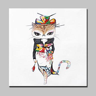 lager Hand moderne Art und Weise Kitty Tierölgemälde auf Leinwand Wandkunst Bild für Zuhause Whit Rahmen 100x100cm gemalt