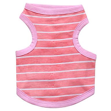 Kat Hund T-shirt Hundetøj Stribe Blå Lys pink Bomuld Kostume For kæledyr Herre Dame Mode