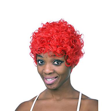 Farbe kurze Länge roten modischen lockige synthetische Perücken der Frauen