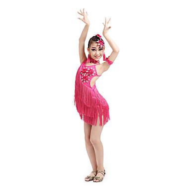 Dança Latina Vestidos Crianças Actuação Elastano Poliéster 6 Peças Sem Mangas Alto Vestido Neckwear Braceletes Tiaras