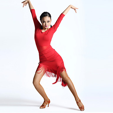Dança Latina Vestidos Mulheres Actuação Elastano 1 Peça Meia manga Alto Vestido