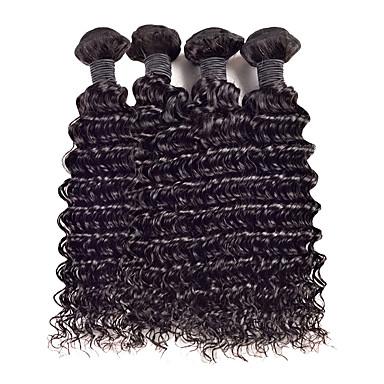 voordelige Weaves van echt haar-4 bundels Maleisisch haar Gekruld Curly Weave 10A Onbehandeld haar Menselijk haar weeft 8-26 inch(es) Menselijk haar weeft Extensions van echt haar