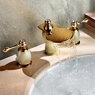 Art déco/Retro 3-Loch-Armatur Wasserfall / Breite spary with  Messingventil Zwei Griffe Drei Löcher for  Ti-PVD , Waschbecken Wasserhahn