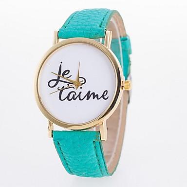 Mulheres Relógio de Moda Quartzo Relógio Casual PU Banda Azul Vermelho Verde Rosa Amarelo Amarelo Vermelho Verde Azul Rosa claro