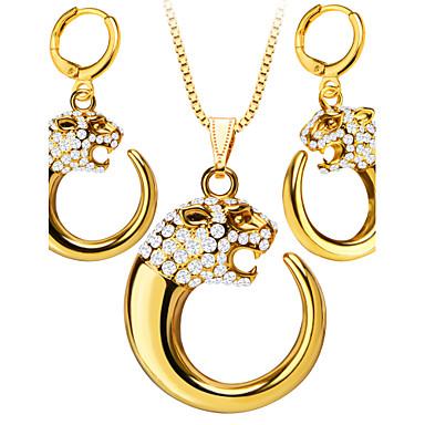 בגדי ריקוד נשים אבן נוצצת ציפוי זהב סט תכשיטים לִכלוֹל עגילים שרשראות - וינטאג' חמוד מסיבה עבודה יום יומי אופנתי אבן נוצצת ציפוי זהב סט