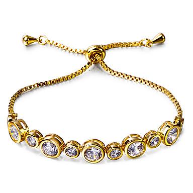 Femme Chaînes & Bracelets Zircon cubique Mode Vintage Bohême Style Punk Ajustable Zircon Cuivre Platiné Plaqué or Forme Ronde Or Blanc