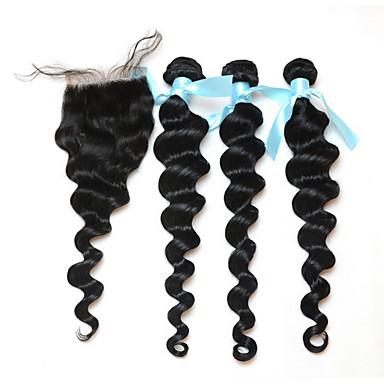 שיער Weft עם סגירה שיער פרואני גלי משוחרר 18 חודשים 3 חלקים שוזרת שיער
