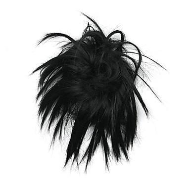 voordelige Haar Stukken-Synthetische pruiken Chignons Klassiek Stijl Gelaagd kapsel Pruik Zwart Synthetisch haar Pruik