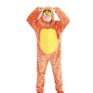 Vuxna Kigurumi-pyjamas Tiger Onesie-pyjamas Polär Ull Orange Cosplay För Herr och Dam Pyjamas med djur Tecknad serie halloween Festival / högtid