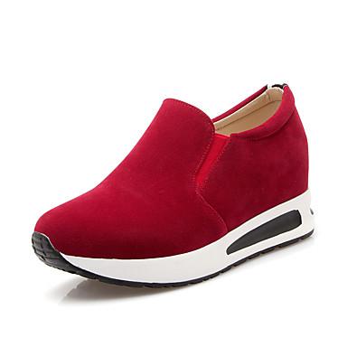 Feminino Sapatos Flanelado Primavera Verão Outono Inverno Conforto Plataforma Para Social Preto Marron Vermelho