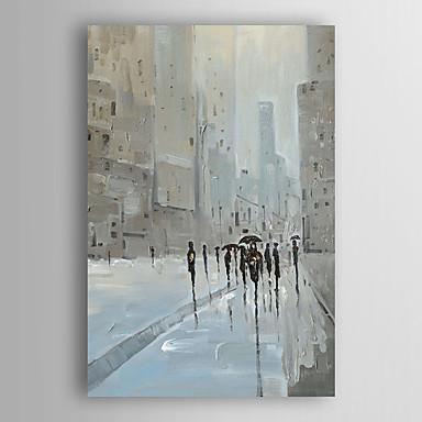 kézzel festett olajfestmény tájkép emberek séta város, utca, feszített keret 7 fal arts®