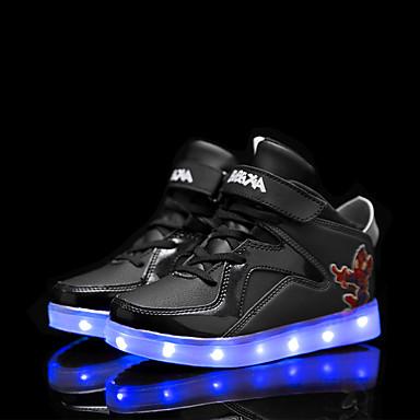 בנים יוניסקס נעליים דמוי עור אביב קיץ סתיו חורף נוחות נעלי ספורט שרוכים סקוטש LED עבור קזו'אל שחור לבן אדום כחול