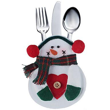 2pcs bolso Cozinha talheres saco boneco define silveware titular festa de natal decoração