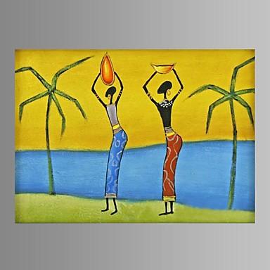 handbemalte abstrakte afrikanische Frauen Ölgemälde Restaurant Dekor mit gestreckten Rahmen